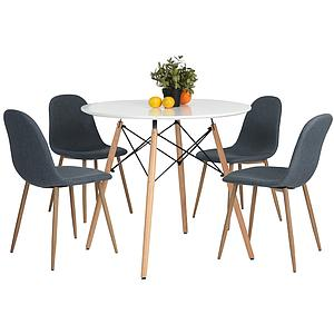 Table ronde style mid-century plateau laqué