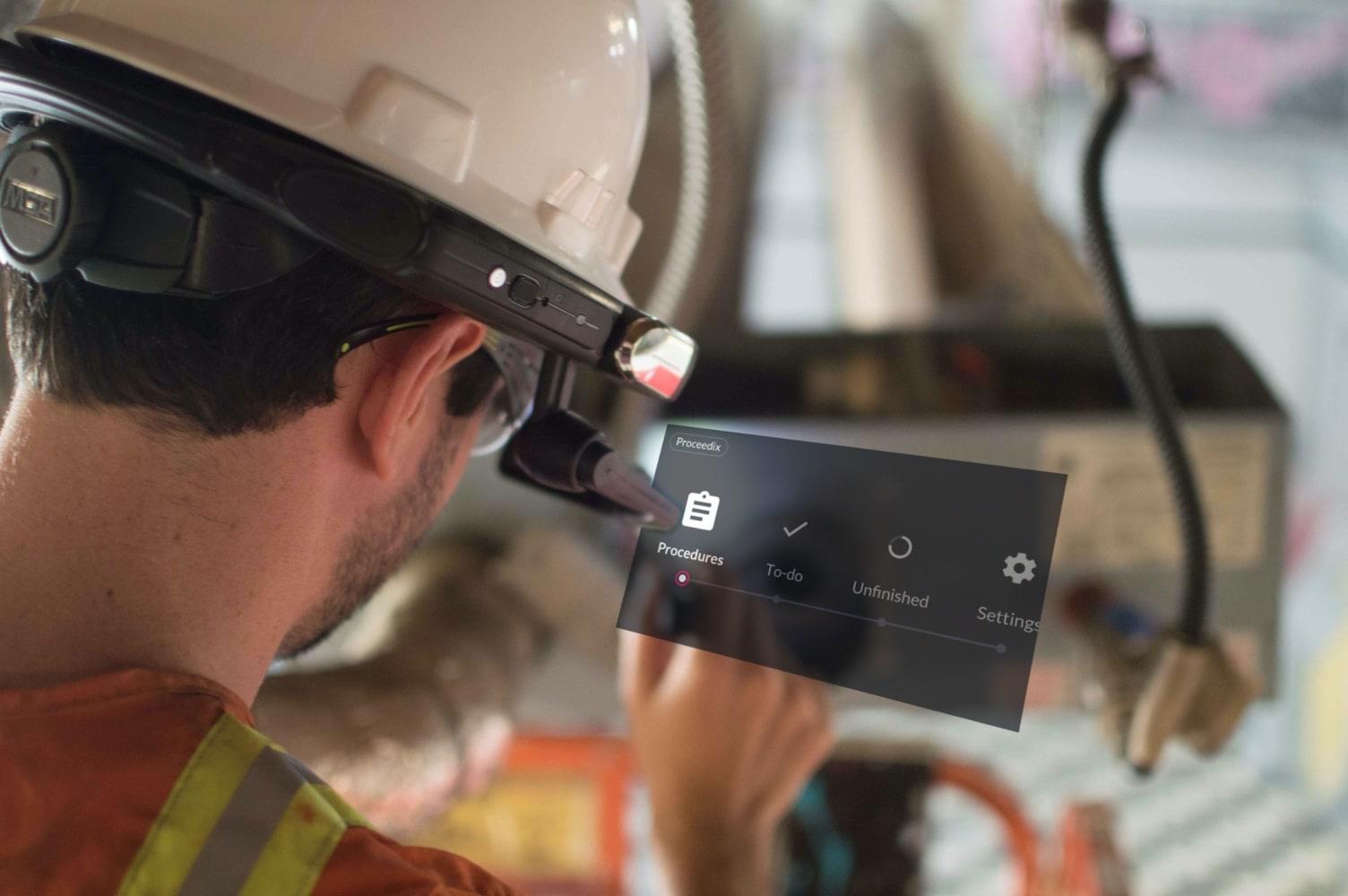The Proceedix app running on a voice controlled smart helmet.