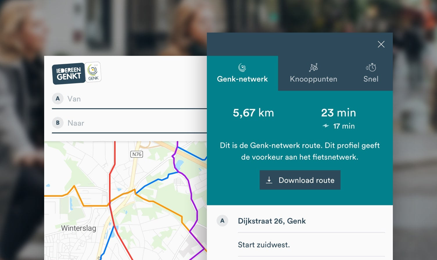 Mobile web app design for Genk cycling route planner.