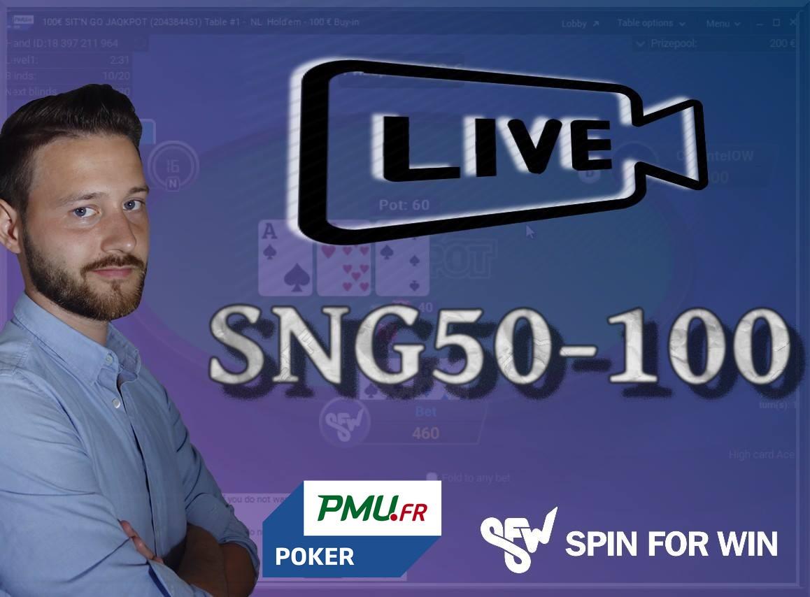 Batmax joue en live en SNG50-100 sur PMU Poker