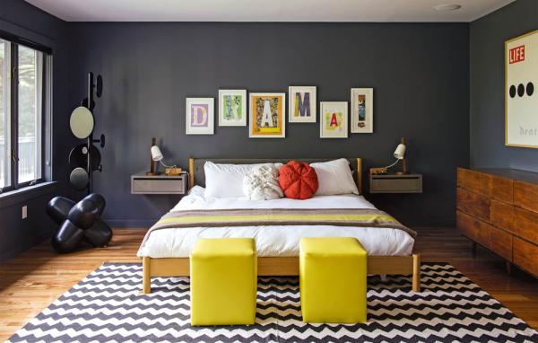 chambre à coucher gris anthracite