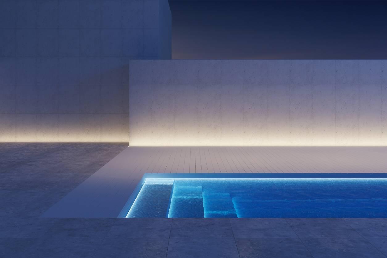 éclairage d'ambiance extérieur piscine ruban led