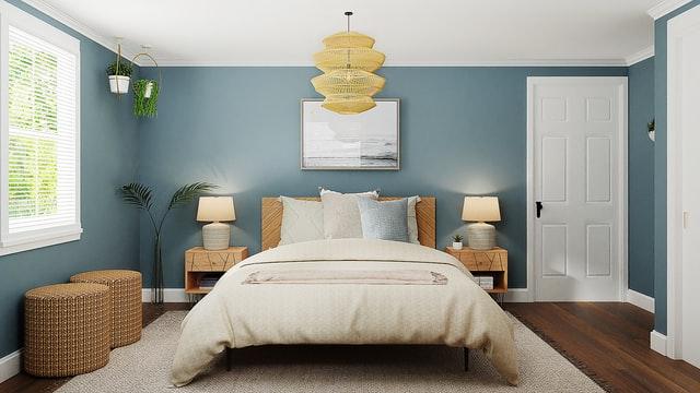 chambre à coucher bleu