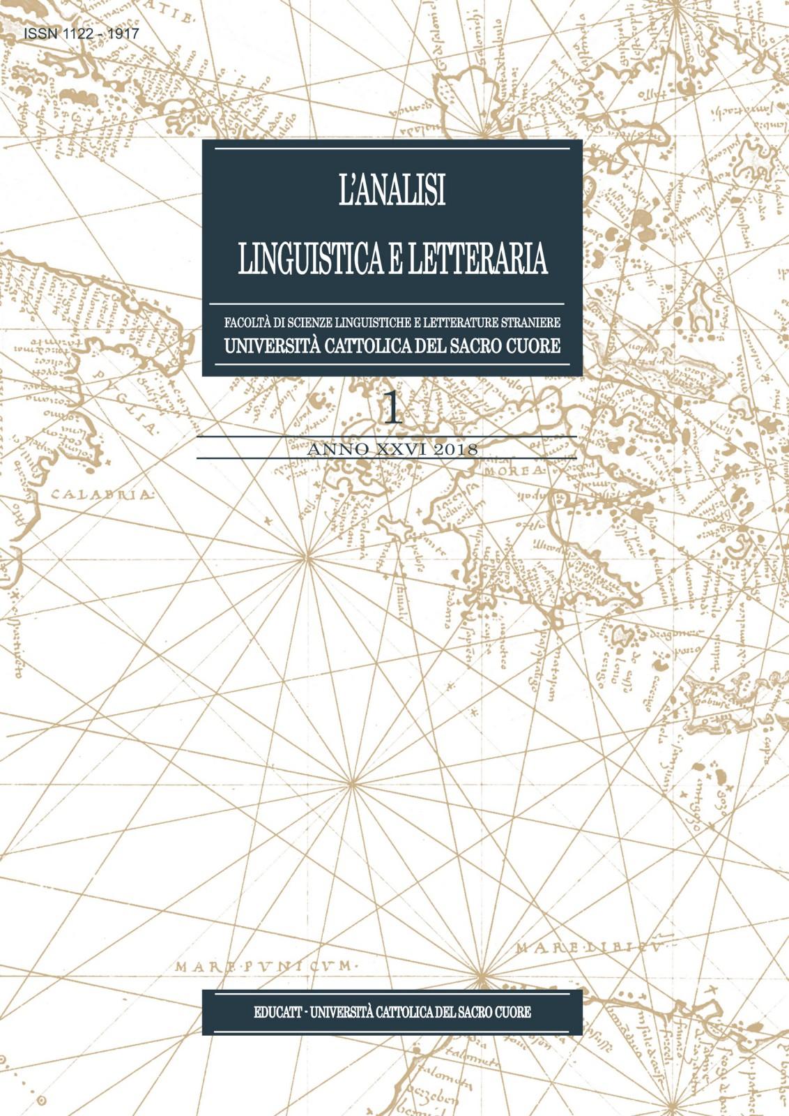 L'ANALISI LINGUISTICA E LETTERARIA 2018/1
