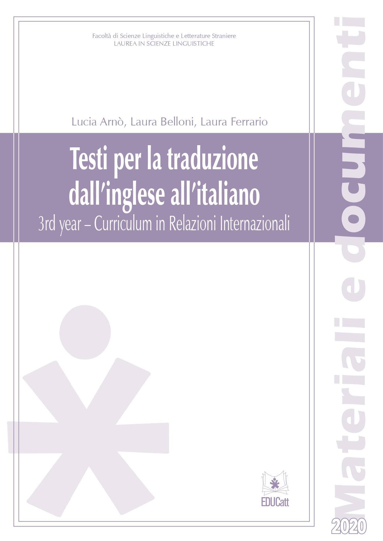 TESTI PER LA TRADUZIONE DALL'INGLESE ALL'ITALIANO. 3RD YEAR - CURRICULUM IN RELAZIONI INTERNAZIONALI (BANDA VIOLETTA)