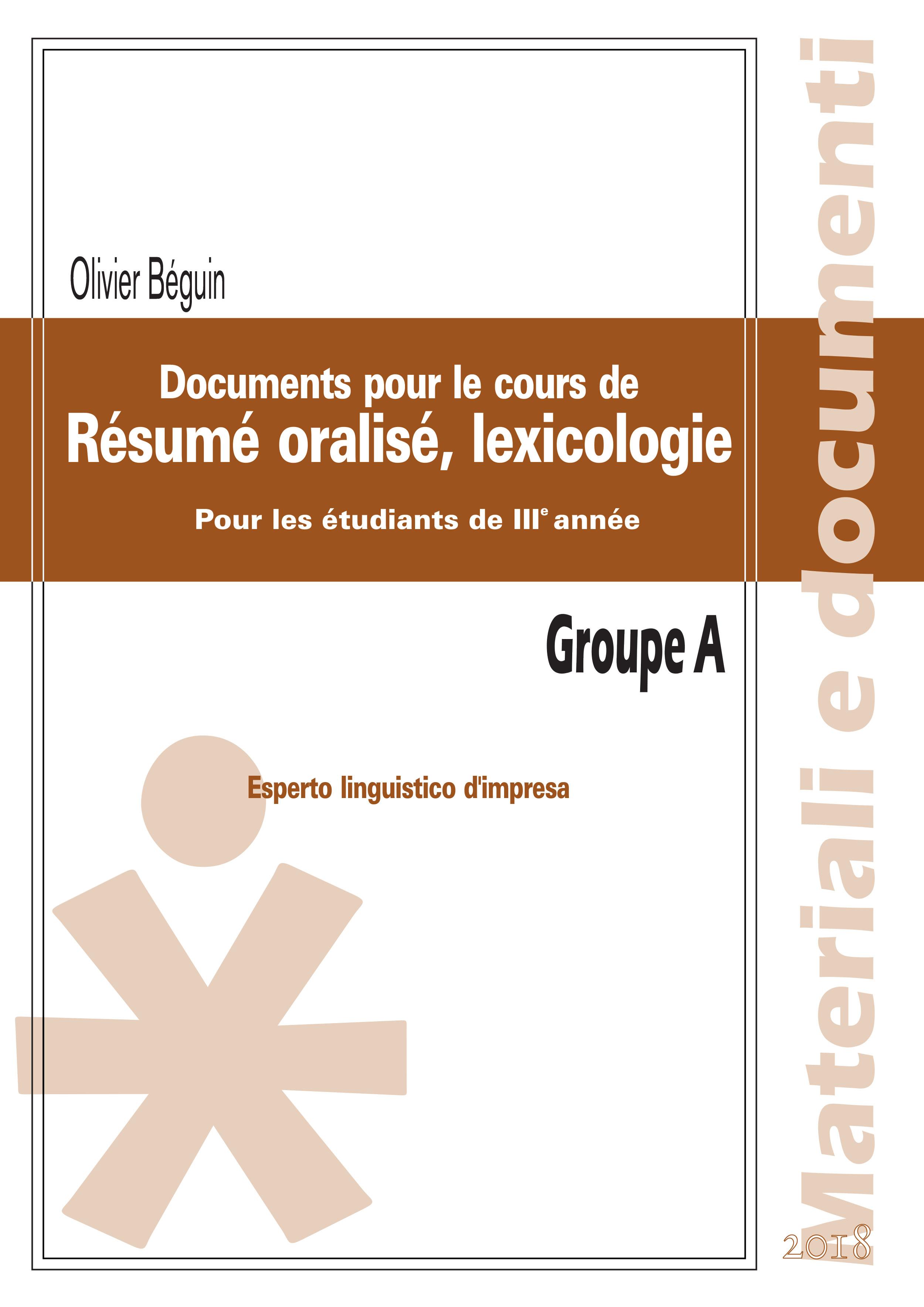 RESUME ORALISE, LEXICOLOGIE POUR LES ETUDIANTS DE III ANNEE GROUPE A
