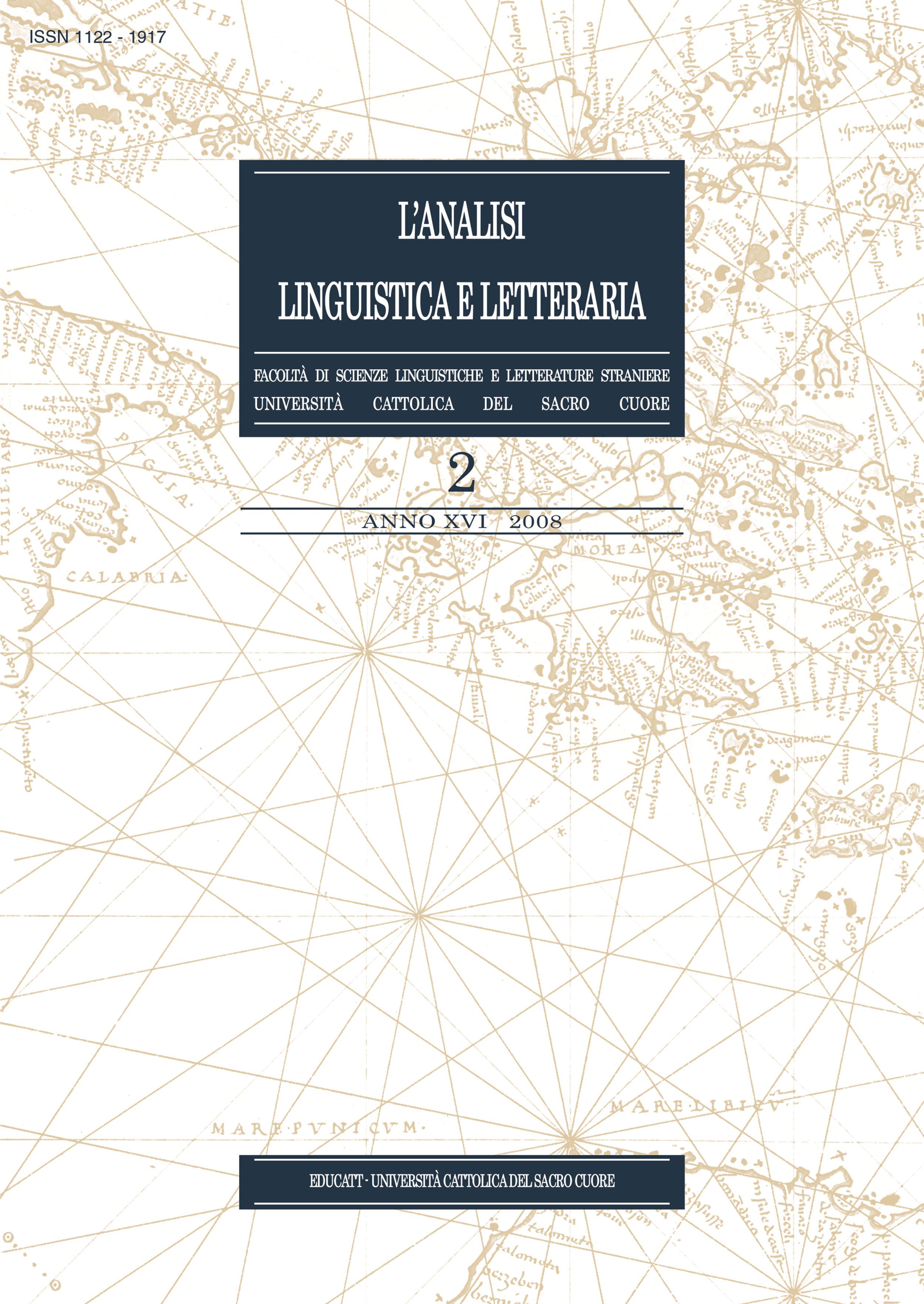 L'ANALISI LINGUISTICA LETTERARIA ANNO 2008 VOLUME 2