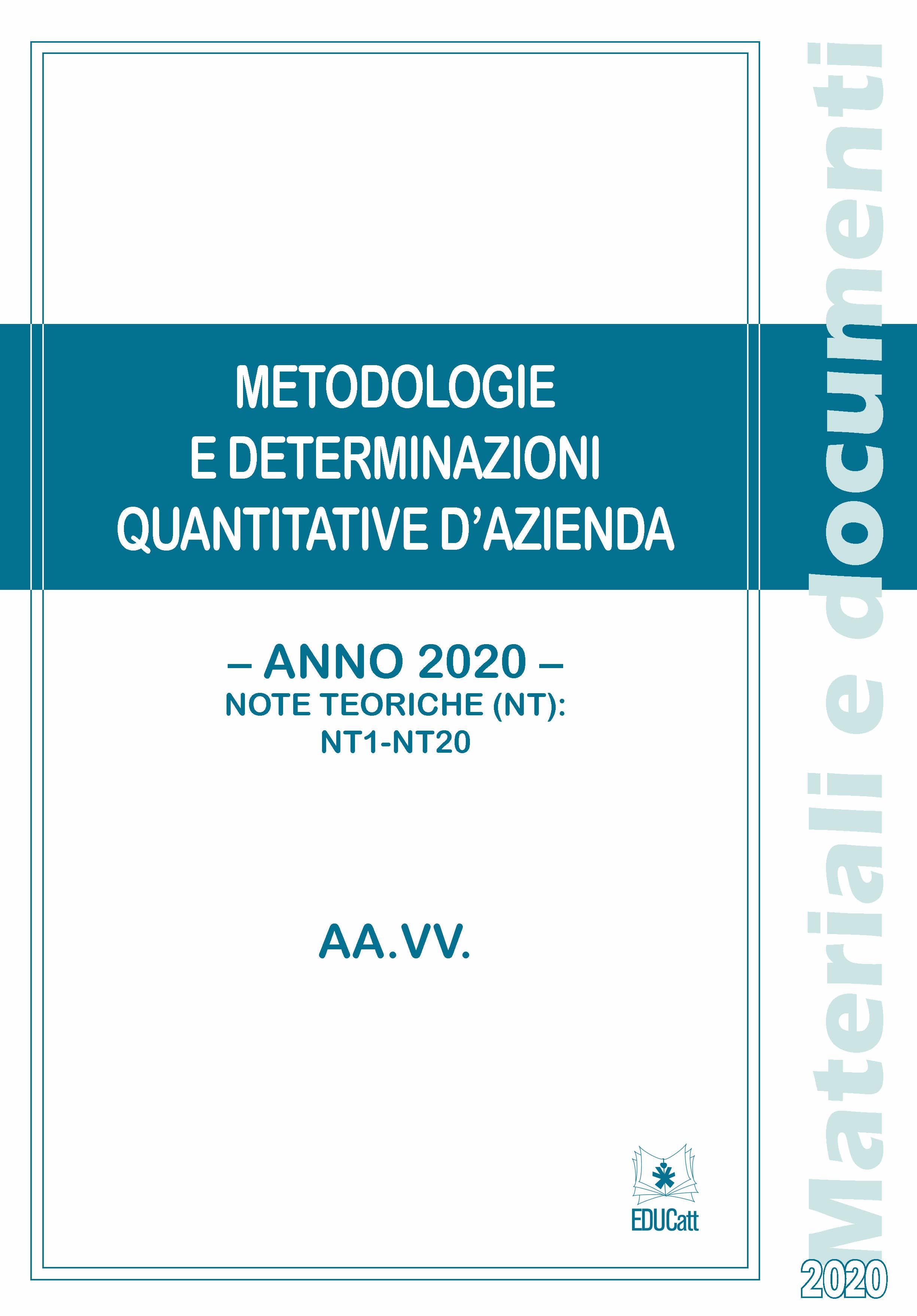 METODOLOGIE E DETERMINAZIONI QUANTITATIVE D'AZIENDA 2020