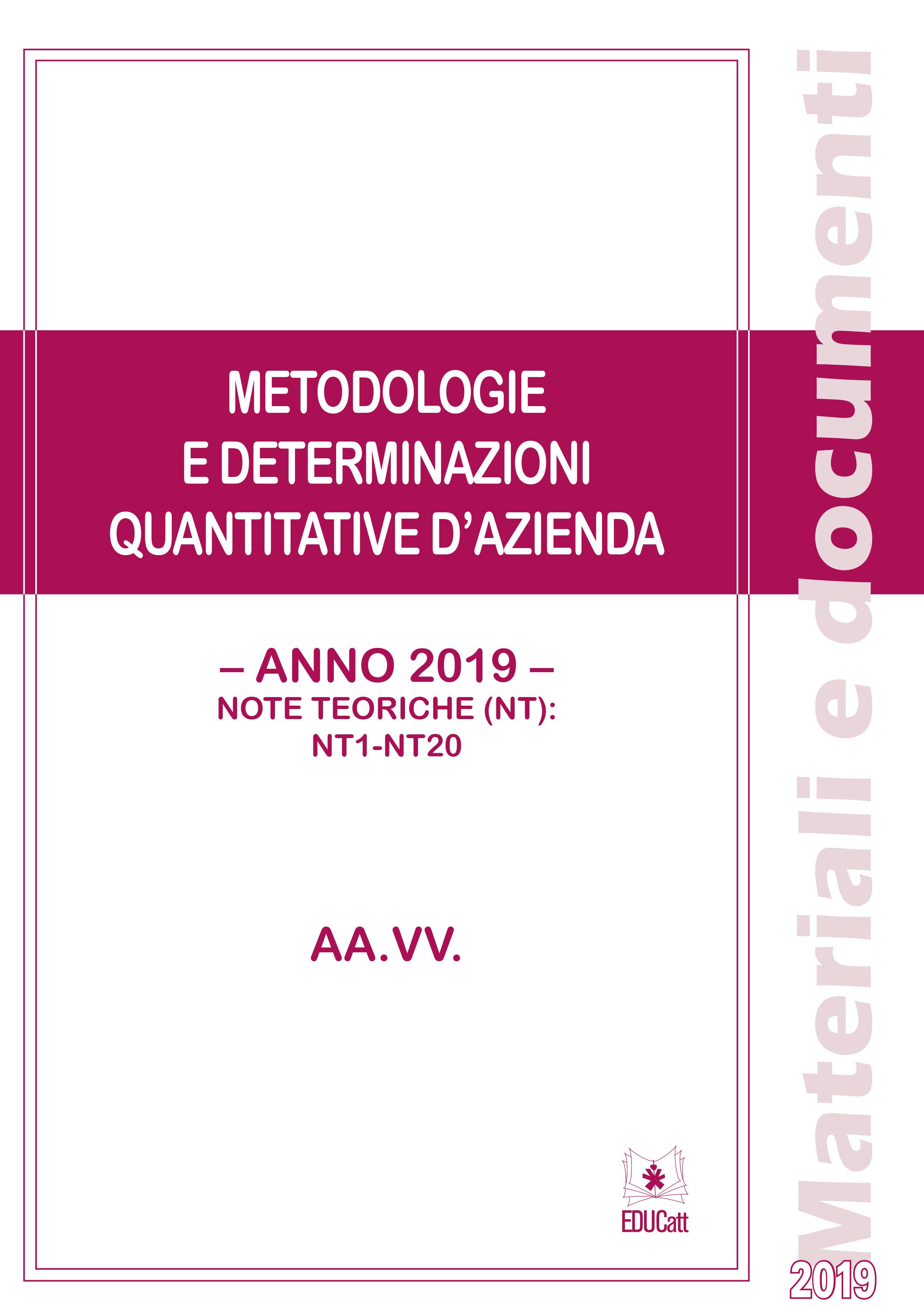 Metodologie e determinazioni quantitative d'azienda 2019