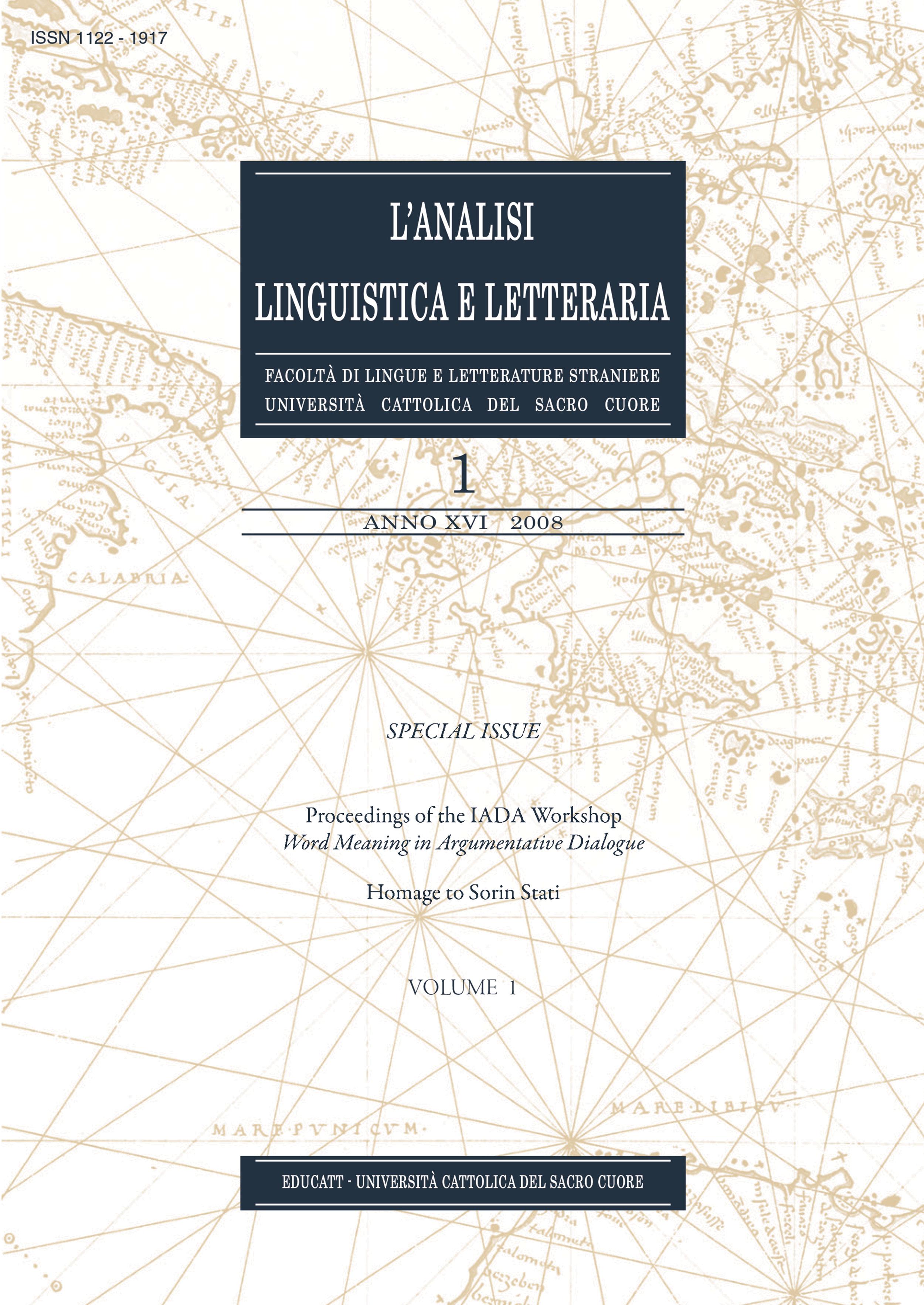 L'ANALISI LINGUISTICA E LETTERARIA 1 (XVI) 2008