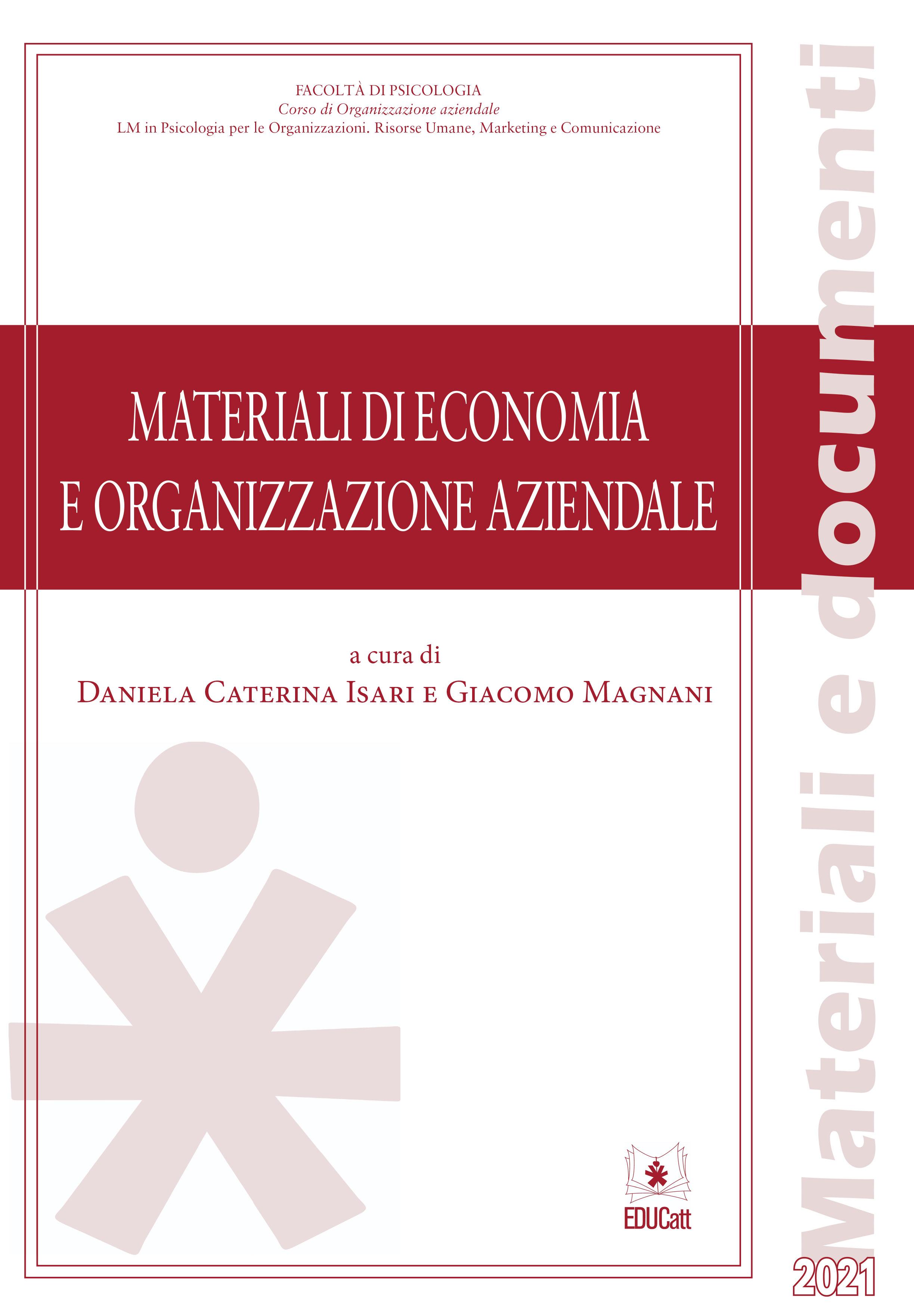 MATERIALI DI ECONOMIA E ORGANIZZAZIONE AZIENDALE 2021