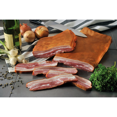 French smoked streaky bacon
