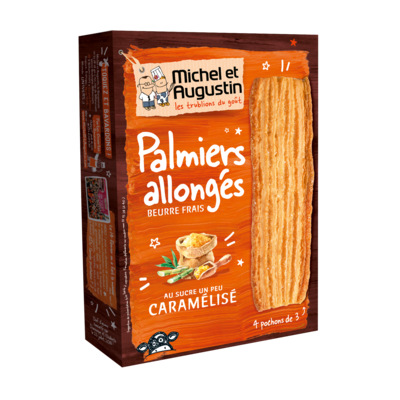 Puff palmiers with pure butter and slightly caramelised sugar