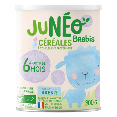 Processed cereal-based food with organic sheep milk JUNEO BREBIS - 900 g tins