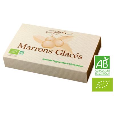 Gift box of 8 organic marrons glacés Corsiglia, branded