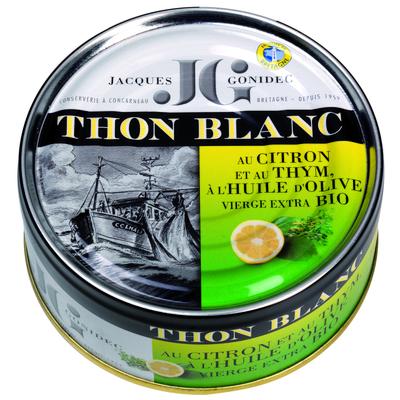 White tuna in organic lemon thyme and organic olive oil