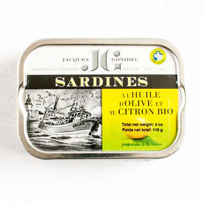 Sardines in organic extra virgin olive oil with lemon