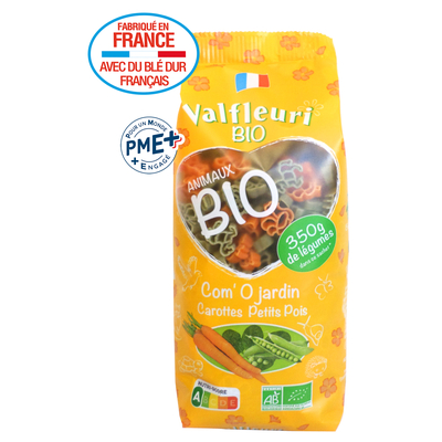 "VALFLEURI ""Com'O Jardin"" Animals 250g, Organic vegetable pasta"