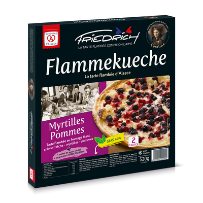 TARTE FLAMBEE MYRTILLES/POMMES 2x260gr (myrtille/pomme + sucre vanillé)