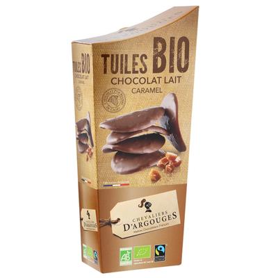37% milk chocolate Tuiles with caramel pieces 130g - Organic & Fairtrade