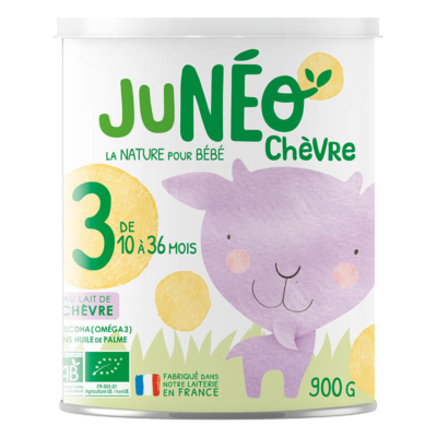 Follow-up infant organic goat milk powder JUNEO CHEVRE 3 - 900 g tins