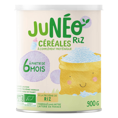 Processed cereal-based food with hydrolysed rice proteins JUNEO RIZ - 900 g tins
