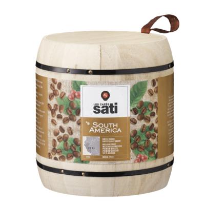 Café Sati wooden barrel South America UTZ coffee beans 250g