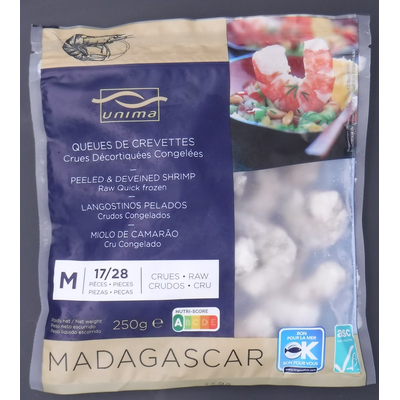 FROZEN PEELED AND DEVEINED SHRIMP ASC FARMED IN MADAGASCAR