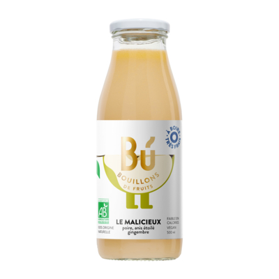 Le Malicieux - Bouillon de poire, anis étoilé, gingembre bio 50cl / THE MISCHIEVIOUS -  Organic pear, star anise and ginger broth 50cl