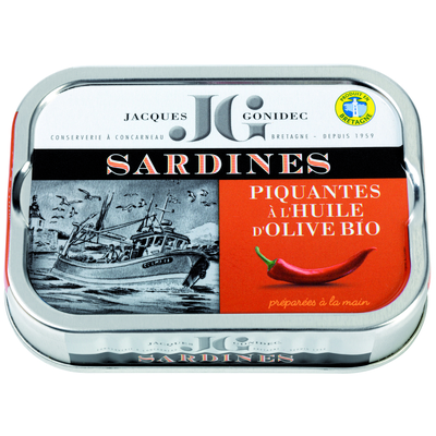 Sardines in organic olive oil with chili peppers 115g