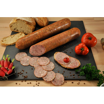 Cooked and smoked ham sausage