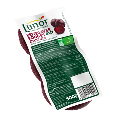 LUNOR STEAMED ORGANIC WHOLE RED BEETROOTS 500G
