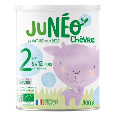 Follow-up infant organic goat milk powder JUNEO CHEVRE 2 - 900 g tins