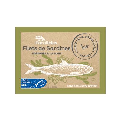 MSC Sardine fillets in organic extra virgin olive oil & organic seaweed