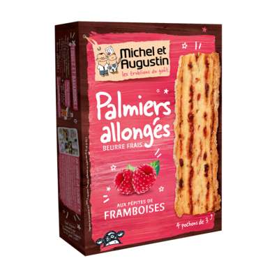Puff palmiers with pure butter and raspberry chunks