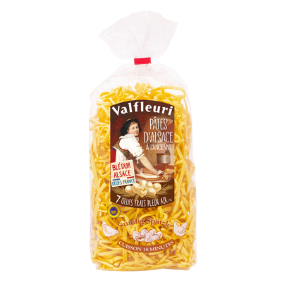 VALFLEURI Pâtes d'Alsace Tradition Sundig Spatzle 500g Egg pasta made with 7 fresh free-range eggs