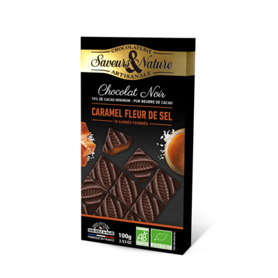 Dark chocolate 70% cocoa squares filled with sea salt caramel