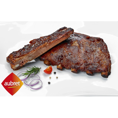 Cooked pork ribs with marinade
