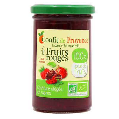ORGANIC LIGHT JAM 100% from Fruits 290 g - CONFIT DE PROVENCE - FOUR RED FRUITS 100% from Fruits
