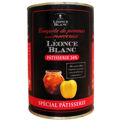 Bake stable apple  compote 24%  with pieces    - tin 4,20kg -  Brand LEONCE BLANC
