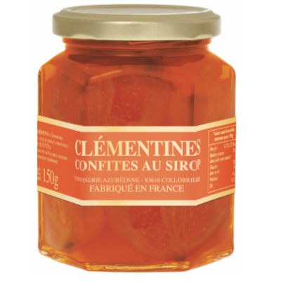 Candied half clementines in syrup jar