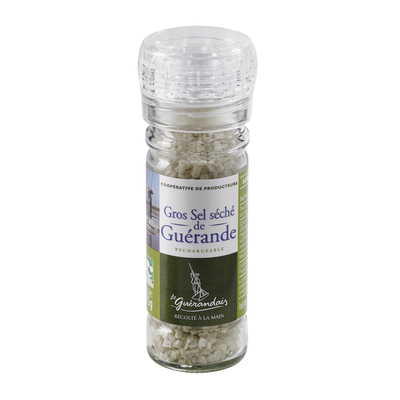 Dried coarse sea salt from Guérande refillable grinder 75gr