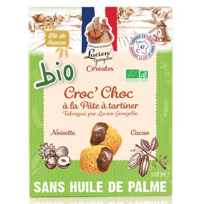 Organic croc chocolate with Lucien Georgelin hazelnut and chocolate spread