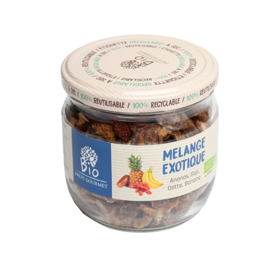 Organic Dried fruits in bits / Exotic Mix (Banana, Dates, Goji berries and Pineapples)