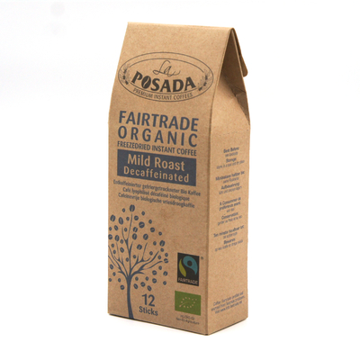 La Posada Mild Roast Organic Fairtrade Decaf Instant Coffee (12 sticks)