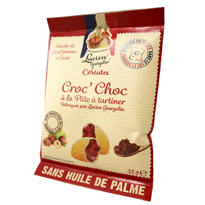 Golden pillows filled with hazelnut and chocolate spread - Croc'Choc - 35g