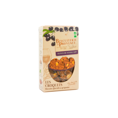 Savoury apetizer biscuits with olives from Nyons AOP