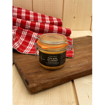 Label Rouge half-cooked whole duck foie gras with Espelette chilli pepper - 180g
