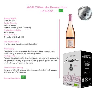 CHATEAU ROMBEAU , IGP Côtes Catalanes Rosé , 2019 , 13% , 3L