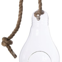 Vase En Verre Transparent A Forme D'Ampoule Avec Corde Ref 39012